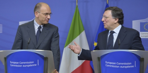 Enrico Letta, on the left, and José Manuel Barroso